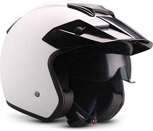"Moto Helmets® S77 ""Matt White"" · Jet-Helm · Motorrad-Helm Roller-Helm Scooter-Helm Bobber Mofa-Helm Vintage Pilot Biker · ECE S (55-56cm)"