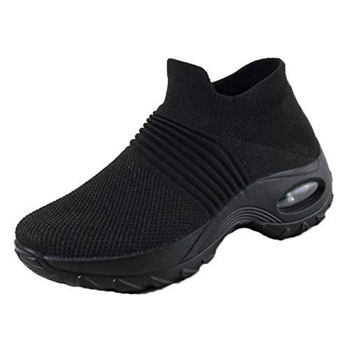 Zapatos de tacón de cuña para Mujer, Zapatos de Malla a la Moda, Transpirables, Antideslizantes, Suela Gruesa con Tacos, cómodos Zapatos de Tobillo Informales para Mujer
