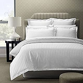 """Linenwalas 300 TC 100% Cotton Stripes Bedsheet with 2 Pillow Covers - 100""""X108"""""""