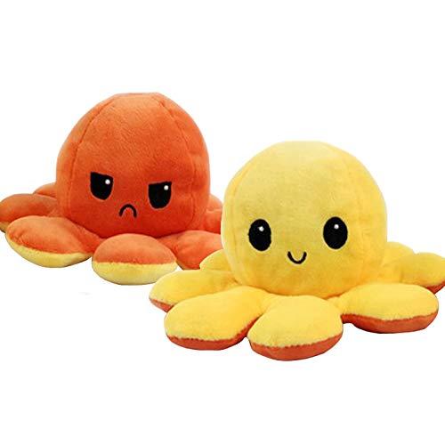 Knuffis✓ Oktupus stimmungs Kuscheltier Octopus Plüschtier Oktopus Plüsch wenden stimmungs Oktopus Kuscheltier doppelseitiges Tintenfisch Kuscheltier zum wenden 20cm (Gelb & Orange)