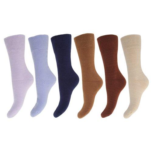 Floso® Damen Thermo-Socken, 6-er Pack (37-41) (Braun/Blautöne)