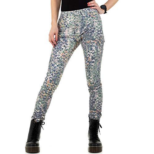 Ital-Design Damen GEMUSTERTE Skinny Jeans Place du Jour Gr. 34 Grün