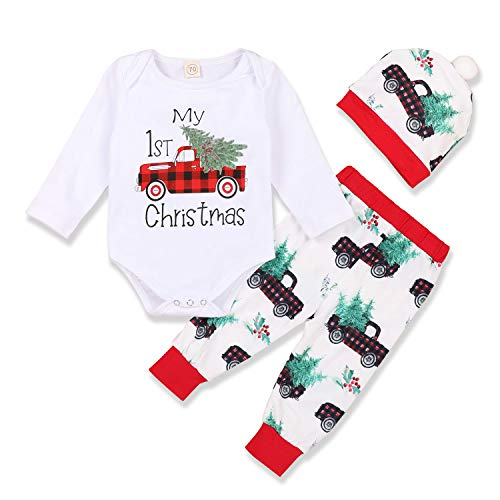 My First Christmas Outfit Baby Boy Long Sleeve Truck Rompers Xmas Plaid Pants Hat Clothes Set(X-White,3-6 Months)