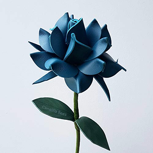 Camellia Bees Leather Rose Gift for her/him on Valentines Day, Mothers Day, Third Years Wedding Anniversary (Turquoise)
