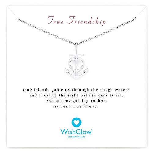 Friendship Necklace Heart Anchor - Best Friend Gift for Women Birthday (Silver)