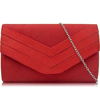 Milisente Evening Bag for Women Suede Envelope Evening Purses Crossbody Shoulder Clutch Bag  Red