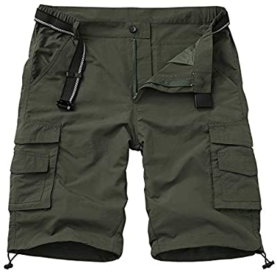 Men's Outdoor Casual Expandable Waist Lightweight Water Resistant Quick Dry Cargo Fishing Hiking Shorts (6013 Army Green 34)