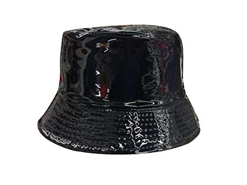 YueLian Women's Patent Leather Solid Fancy Bucket Hat Sun Headwear (Black)