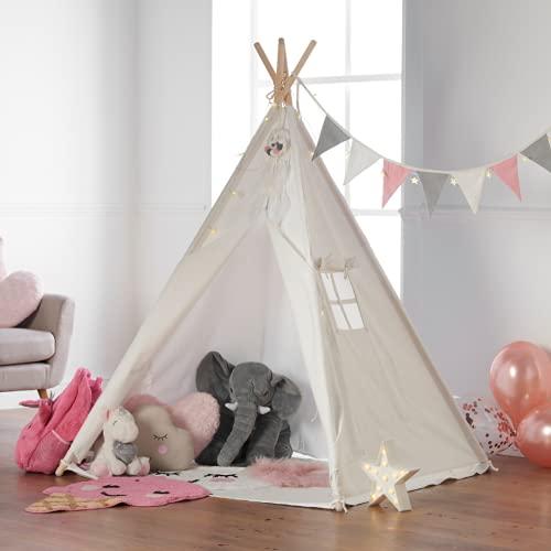Haus Projekt Tienda Tipi para niños con Luces de Hadas, empavesado y Base Impermeable incluida - Tienda para Jugar e Imaginar, 100% algodón, para Interior / Exterior (Rosado/Blanco) Certificado CE