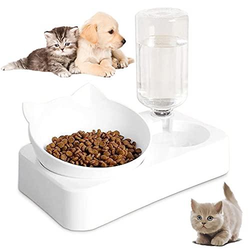 Dispensador de Agua Automático y Cuenco de Comida Alimentador de Agua y Alimentos para Mascotas Comedero Automático para Mascotas Dispensador de Agua Automático con Comedero para Mascotas 1 Conjunto