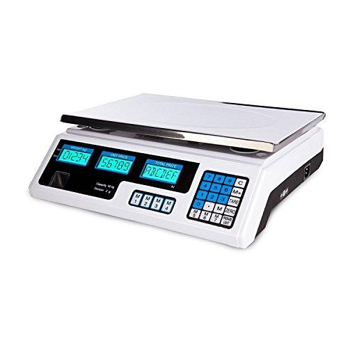 LScommerce BILANCIA ELETTRONICA PROFESSIONALE DA BANCO DIGITALE 40 KG DOPPIO DISPLAY NEW 5 GR