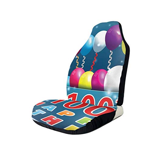 GUUi Seat Covers Vehicle Protector Car Mat, kleurrijke balloons On Star Like Dots 100 jaar Birthday, geschikt voor de meeste Cars, Sedan, Truck, SUV 2 PCS Multi-coloured