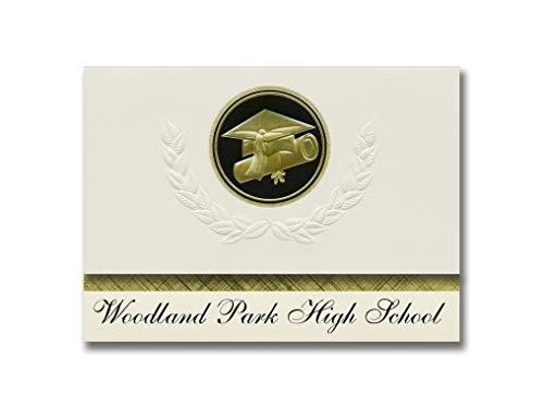 Signature Announcements Woodland Park High School (Woodland Park, CO) Abschluss-Ankündigung, Presidential Style, Elite Paket mit 25 Cap & Diplom-Siegel Schwarz & Gold