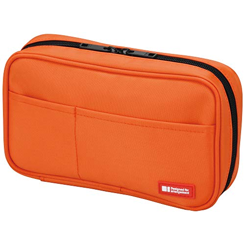 LIHIT LAB Zipper Pen Case, 7.9 × 2 × 4.7 Inches, Orange (A7551-4)