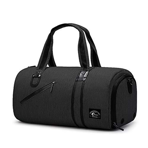 CHEREEKI Duffel Bag, Sports Gym Bag with Shoes Compartment & Wet Pocket (Black)
