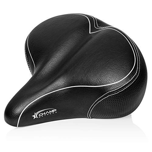 Oversized Comfort Bike Seat – Comfortable Cushion Replacement Bicycle Saddle – Universal Fit for Outdoor Bike and Beach Cruiser Bikes - Indoor Spin and Stationary Bikes – Wide Soft Padded Bike Saddle