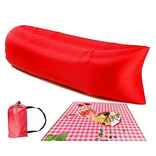 Sofá de aire, tumbona inflable para viajes, al aire libre, camping, senderismo, fiestas de playa, picnic, patio trasero, lakeside, hamaca de aire, tumbona inflable para adultos