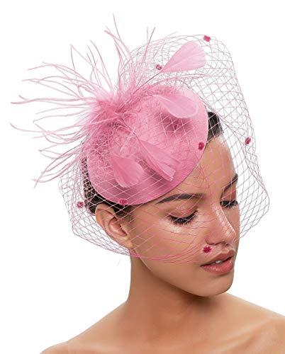 Zivyes Hochzeit Faszinator Hut 50er Jahre Mottoparty Accessories Halloween Kostüme Kopfschmuck (1-Rosa)