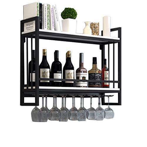 Soporte for copas de vino colgante | Estantes for vinos Montado pared Madera Metal | Estante del vino con sostenedor de cristal | Soporte for botellas de vino suspendido | Soporte Para Colgar Copas