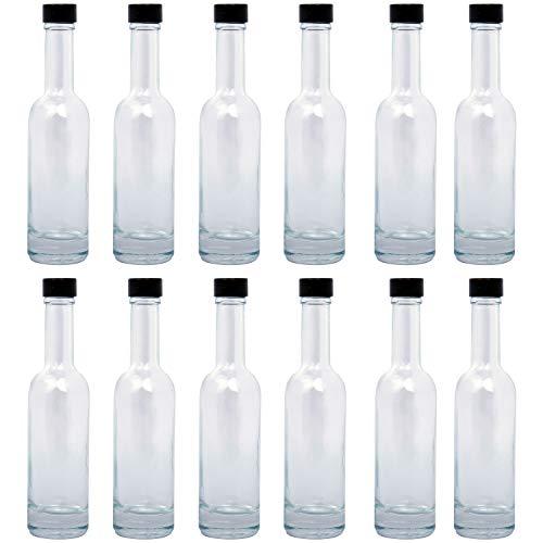 BELLE VOUS Glasflaschen (12 STK) - 150ml Leere Glas Flaschen zum Befüllen mit Auslaufsicherem Schwarz Schraubverschluss – Glasflasche zum Einmachen, Abfüllen, Ölflaschen, Likör, Schnaps, Gewürze