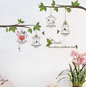 NOBRAND vinilos de Pared Decorativos Gran pájaro Jaula de pájaros Rama de árbol Flor Etiqueta de la Pared decoración del hogar TV Fondo Sala de Estar Dormitorio Mural Cartel 60x100cm