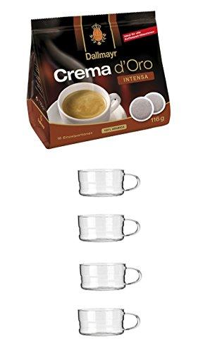 Dallmayr Crema d'oro Intensa Kaffe Pads 116g -1 x 16 Pads) + 4 Gläser mit Henkel 200ml