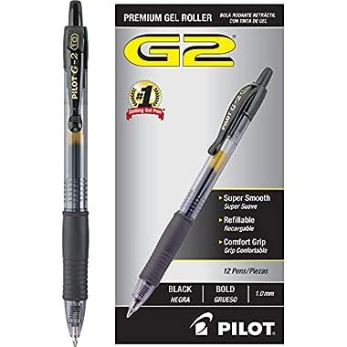 PILOT G2 Premium Refillable & Retractable Rolling Ball Gel Pens, Bold Point, Black Ink, 12-Pack (31256)