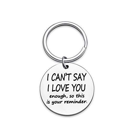 Funny Boyfriend Girlfriend Christmas Valentine Keychain- I Cant Say Love You Enough Wife Husband Birthday Anniversary Gifts for Him Her Fiance Fiancee Engagement Wedding Bride Groom Present Keyring