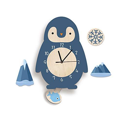 Martin Kench Cartoon 3D Tier Motiv Kinder Wanduhr, Uhr ohne Tickgeräusche, Cute Kreativität Kinderuhr Dekoriertes Kinderzimmer Wohnzimmer (Pinguin)