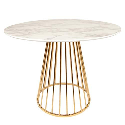 All About Chairs Mesa de comedor con patas cromadas doradas, efecto mármol, 90 cm, 110 cm, 120 cm