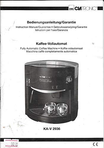 Kaffee-Vollautomat KA-V 2936 - CLATronic - Bedienungsanleitung