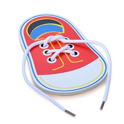 Jouet de Chaussure de laçage en Bois, Apprendre à Nouer des Lacets en filant des Jouets éducatifs de motricité, Chaussures de laçage Jeu de société éducatif précoce pour Enfants