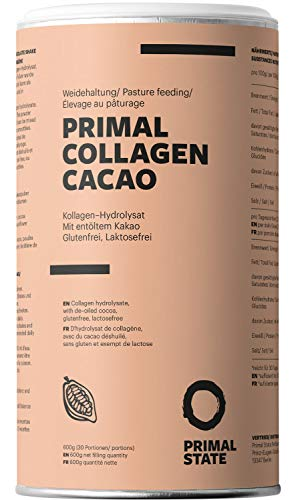 Primal Collagen Pulver - Kollagen Hydrolysat Peptide Typ 1, 2 und 3 - Aus Weidehaltung - 600g Primal Kollagen Pulver Kakao