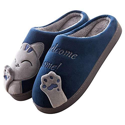 Zapatillas de casa de Invierno para Mujer Zapatillas Unisex Antideslizantes Suaves y cálidas Dormitorio Interior Piel mullida