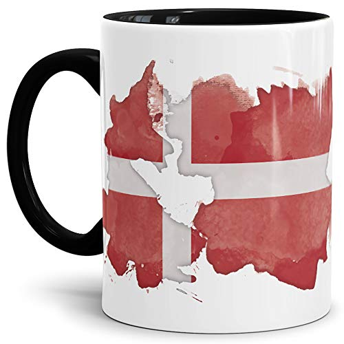 Tassendruck Flaggen-Tasse Dänemark Innen & Henkel Schwarz - Fahne/Länderfarbe/Wasserfarbe/Aquarell/Cup/Tor/Qualität Made in Germany