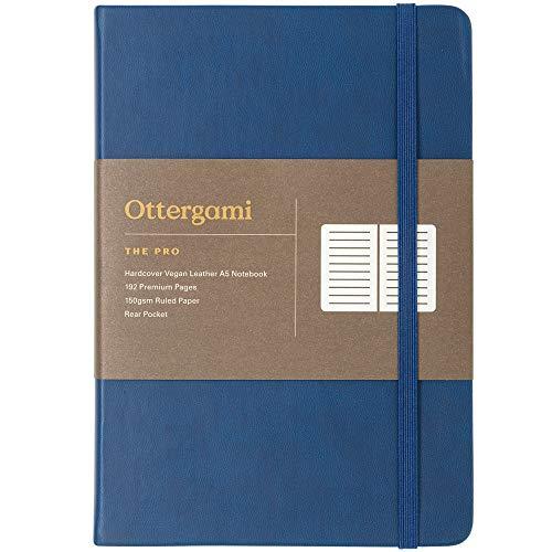 Notizbuch A5 liniert   150gsm Papier lined   Luxus notizbücher   The Pro von Ottergami (Blau, Liniert)