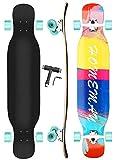 setemlong 42 inch Skateboard Longboard en érable Naturel 8 Couches 42'x9.5', Roues PU, Roulements ABEC-11, pour Croisière Courbe Glisse Libre Descente (Bleu)