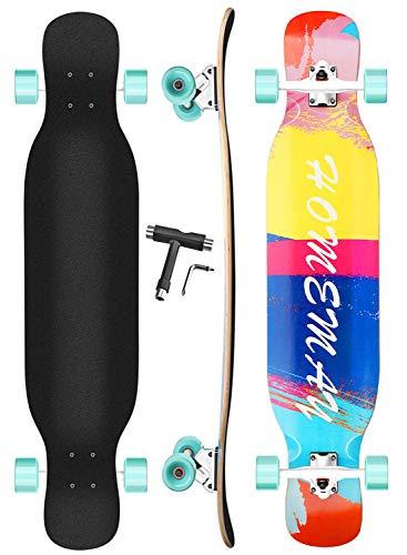 Setemlong Skateboard Longboard Twin nell'Acero Naturale 8 Strati 42 x 9.5  con Ruote in PU, Cuscinetti ABEC-11 Perfetto per Cruiser Curving Freeride Slide Downhilll
