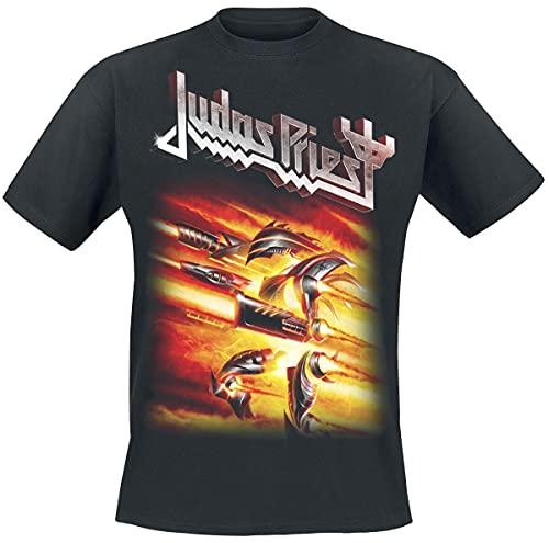 Absolute Cult Judas Priest Hombre Firepower Cover Camiseta Negro Large