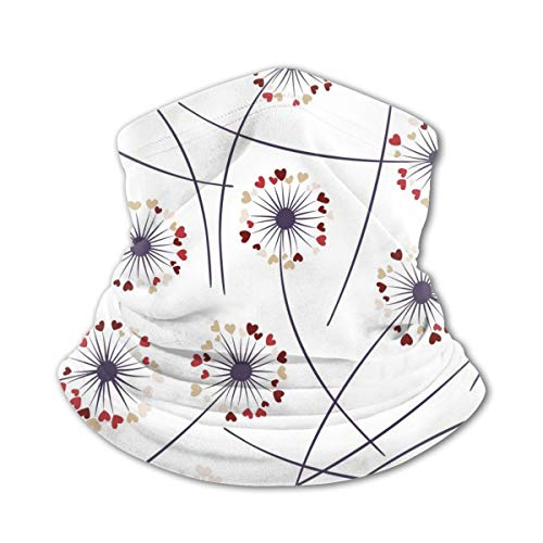 Akhy Multifunctional Headwear Boys Girl Face Mask Headband Neck Gaiter Cute Flowers with Heart Shaped Fluff Flying Balaclava for Teens
