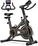 UREVO Exercise Bike,10kg Flywheel Indoor Cycling Bike for Home Workout with 260LBS Weight Capacity, Stationary Bikes for Fitness Gyms Training with Comfortable Seat Cushion