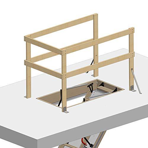 Universales Lukenschutzgeländer für Bodentreppe HEYKE | Für Ihre Sicherheit | Aus Möbelqualität FSC Holz | Zubehör für Dachbodentreppe