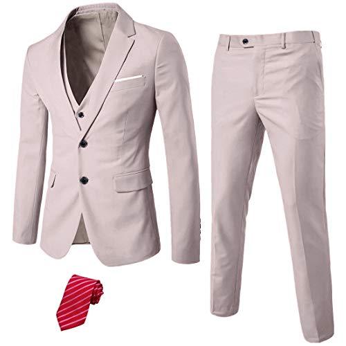 MYS Men's 3 Piece Slim Fit Suit Set, 2 Button Blazer Jacket Vest Pants with Tie, Solid Wedding Dress Tux and Trousers Beige