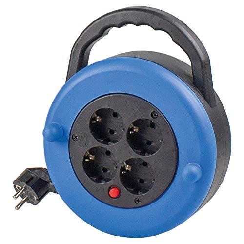 as - Schwabe kunststof kabelbox 230 V trommel met Schuko-stekker & 7,5 m kunststof kabelkabel incl. geaarde stekker – verlengkabel met 4 inbouwstopcontacten – IP20 – blauw I 16154