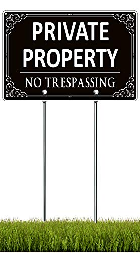 Private Property No Trespassing Sign with Stake, Aluminum Private Property Signs for Yard with Posts, 11.8'x 7.9' Outdoor Metal No Trespassing Signs for House with 15.7' Stake