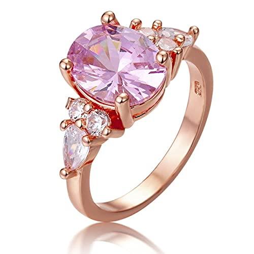 Geometría Anillo de Compromiso de Princesa de Cristal Rosa Color Oro Rosa Color Platino Plata 925 Joyería Precioso Regalo Dulce 9