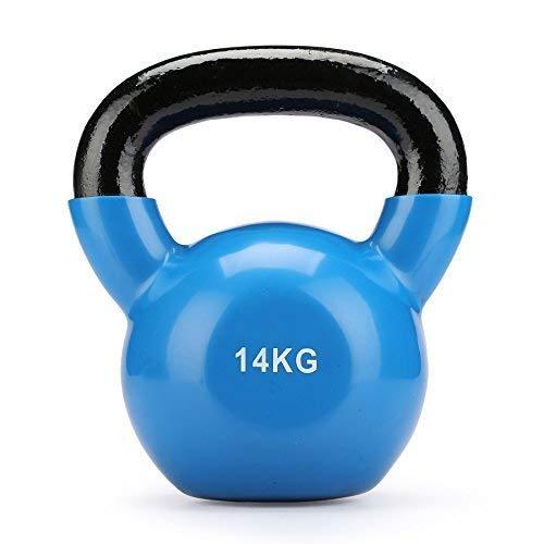 ZELUS Cast Iron Vinyl Coated Kettlebell for Women/Men Workout (Blue 14kg)