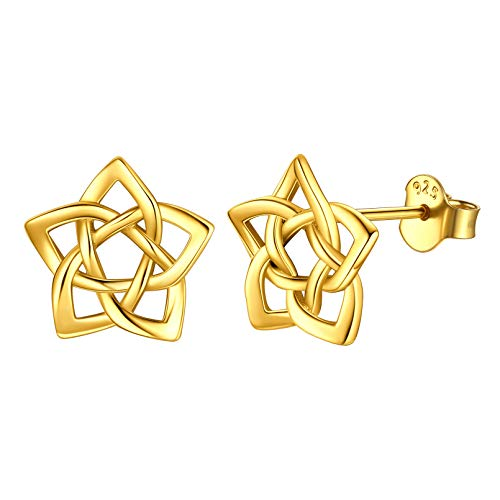 18K Gold Plated Celtic Knot Stud Earrings for Womens Sensitive Ears Hypoallergenic Star Earring Irish Jewelry