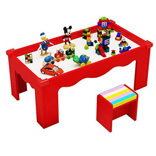 Tisch- & Stuhlsets Kinder-Lerntisch Kinder-Holztisch Multifunktions-Spieltisch halten das Gewicht von 200 kg aus (Color : Red)
