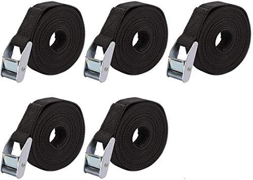 5er-Pack Spanngurte für Kajak, Boot, Auto, Gepäck, Anhänger (1 m x 25 mm, schwarz)